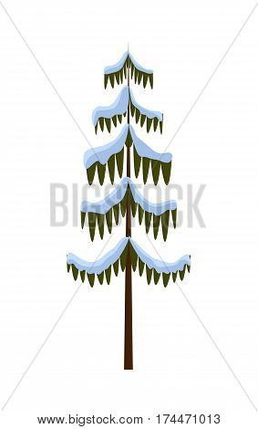 Tall Christmas Tree Cartoon.Isolated Spruce On Vector Photo Free Trial Bigstock