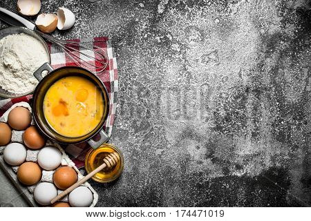 Baking Background. A Variety Of Ingredients For Baking On Rustic Background.