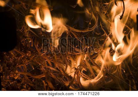 The fire from the burning bales of soya, photographed stove in a small village near Novi Sad, Serbia