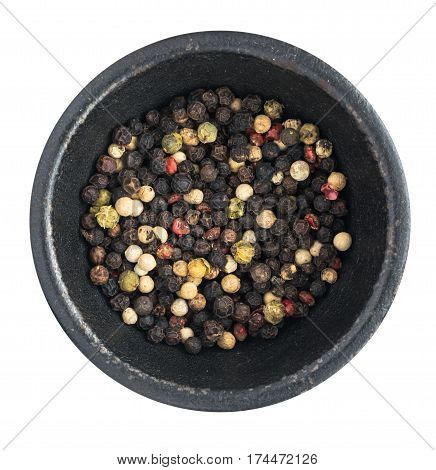 Multicolored Peppercorns Or Dry Peper Mix Isolated