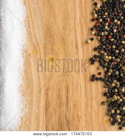 Heap Of Pepper Mix Seeds On Wooden Background