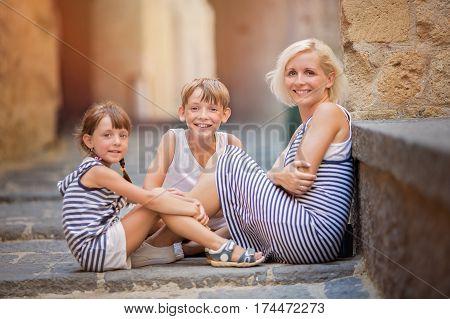 Family vacation tourism concept. Family summer portrait