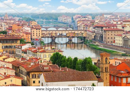 cityscape of Florence with famous bridge Ponte Vecchio from above, Florence, Italy