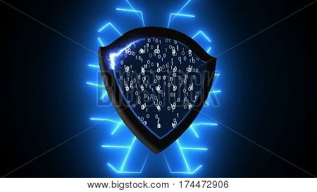 Abstract Background With Security Shield. Cyber Background
