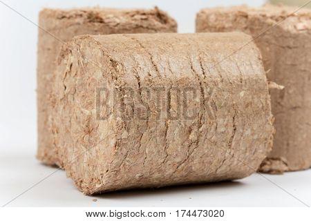 Three Wooden Briquettes Firewood