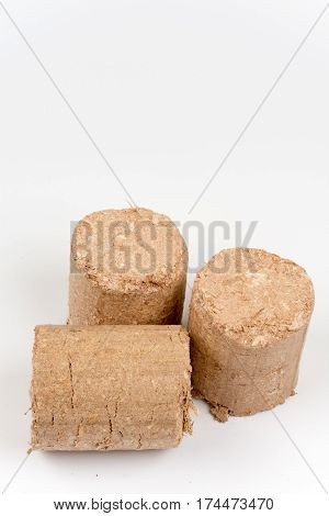Wooden Briquettes Over White Background
