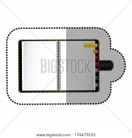 color agenda with tabs icon, vector illustraction design