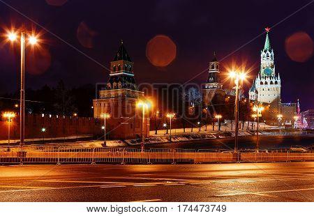 Spasskaya tower of the Kremlin, night view. Moscow, Russia