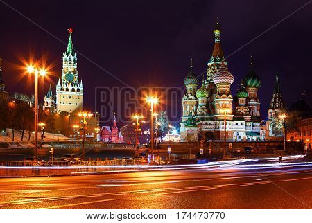 church and towers of Kremlin at night
