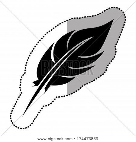 dark contour feather icon stock, vector illustraction design image
