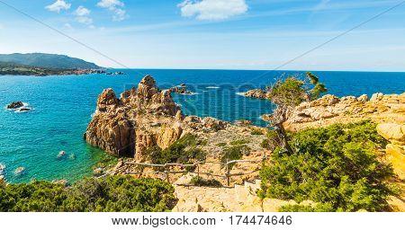 Rocky coastline in Costa Paradiso in Sardinia