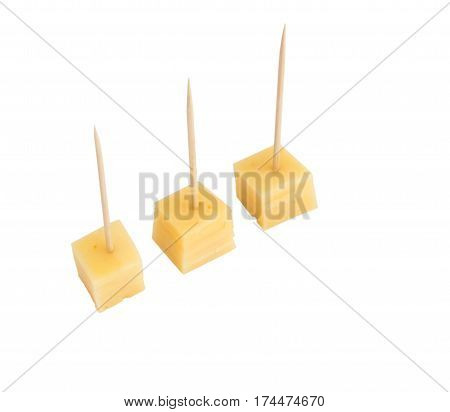 Chips Of Gouda Cheese Isolated On White Background