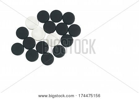 Black Activated Charcoal And White Chloramphenicol Tablets