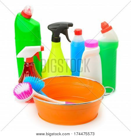 set of household chemicals hand basin and brushes for cleaning isolated on white background