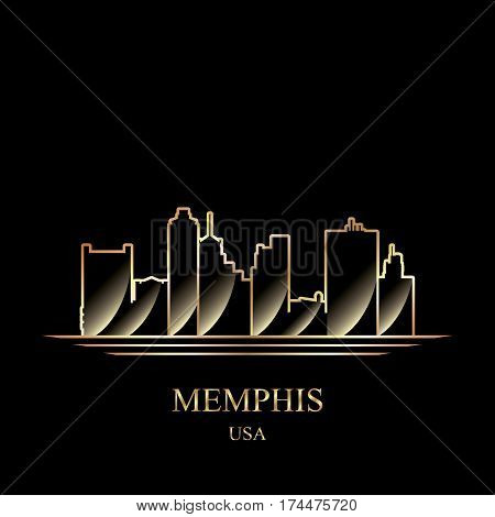 Gold Silhouette Of Memphis On Black Background