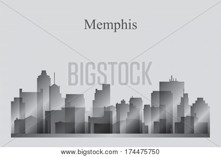 Memphis City Skyline Silhouette In Grayscale