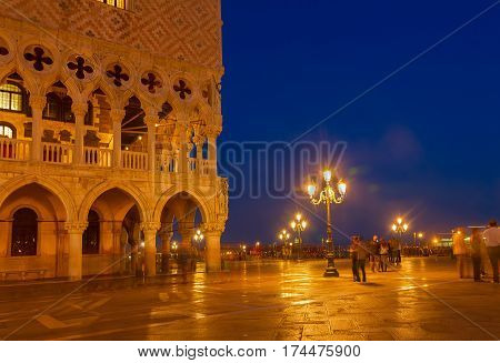 Square San Marco with Doges palace at night, Venice, Italy, retro toned