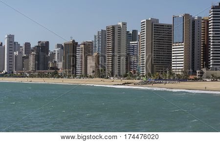 Skyline of Fortaleza city, Ceara, Brazil. Viewed from the sea.