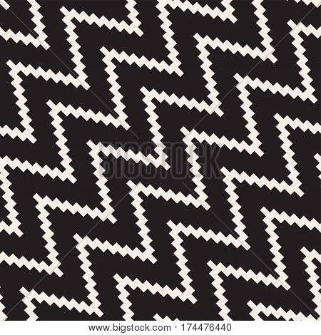 Halftone Edgy Lines Mosaic Endless Stylish Texture. Abstract Geometric Background Design. Vector Seamless Black and White Pattern.