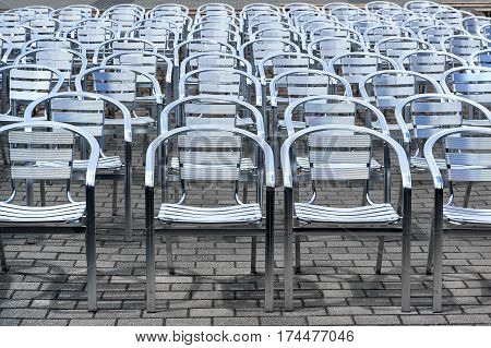 Metal Chairs In A Rows