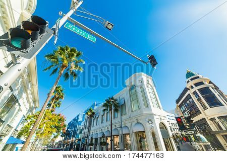 Shining sun over Rodeo Drive in California