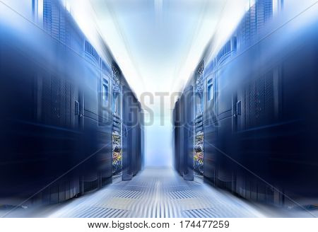symmetrical data center room with futuristic beams and rows of equipment