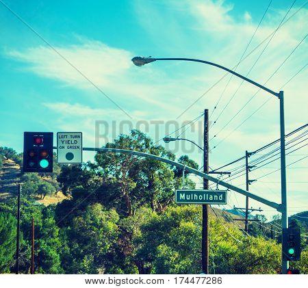 Mulholland drive sign in Malibu in California