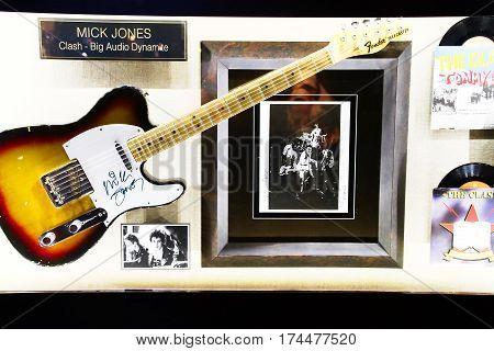 LAS VEGAS,USA - Hard Rock Hotel, as seen on Oct 09:2016, in Las Vegas. CRASH used guitar on display Set.