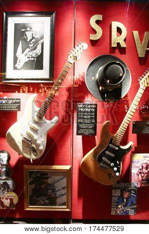 LAS VEGAS,USA - Hard Rock Hotel, as seen on Oct 09:2016, in Las Vegas. Stevie Ray Vaughan used guitar on display Set.