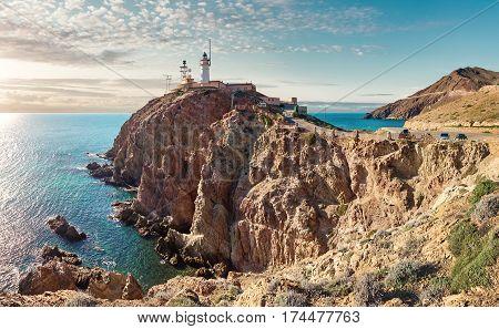 Lighthouse of Cabo de Gata-Nijar Natural Park south-eastern corner of Spain. Panoramic view.