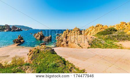 Boat ramp in Costa Paradiso in Sardinia