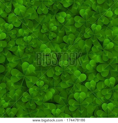 Seamless pattern with Green Four and Tree Leaf Clovers. Vector illustration. Saint Patrick's Day Lucky and Success Background.