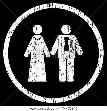 Newlyweds grainy textured icon for overlay watermark stamps. Rounded flat vector symbol with dirty texture. Circled white ink rubber seal stamp with grunge design on a black background.