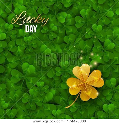 Gold shiny four leaf clover on green clover field. Vector illustration. Saint Patrick's Day concept banner. Lucky and success symbol, leprechaun treasure.