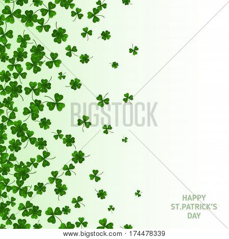 Saint Patrick's Day Vertical Banner with Green Four and Tree Leaf Clovers on White Background. Vector illustration. Party Invitation Design, Typographic Template. Lucky and success symbols