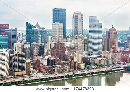 Pittsburgh USA - June 3 2016: Cityscape or skyline with bank skyscrapers such as UPMC on overcast day