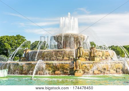 Buckingham Memorial Fountains in Grant Park in Illinois on a hot summer day in Chicago USA