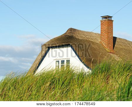 House or home with roof behind the dike