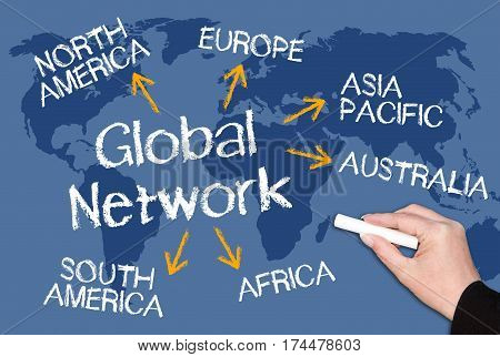 Global Network - chalkboard with text and arrows on world map background