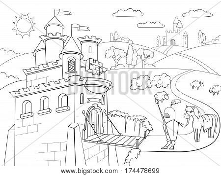 Kids Coloring cartoon knightly castle vector Zentangle style. Black and white, knight, horse, armor, castle, fairy tale and nature