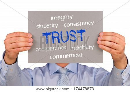 Trust - manager holding sign with text
