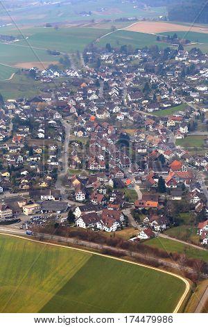Beautiful aerial view of Switzerland near Zurich