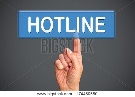 Hotline - female hand with touchscreen button
