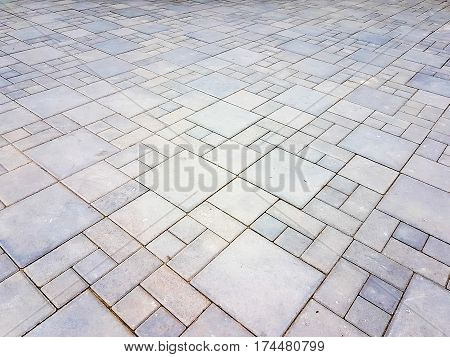 Decorate Of Square Brick Concrete Walkway Background
