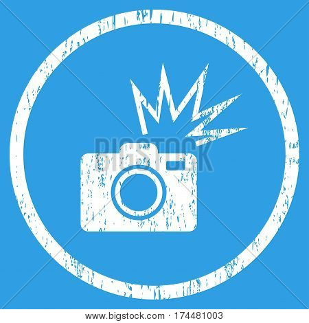 Camera Flash grainy textured icon for overlay watermark stamps. Rounded flat vector symbol with dust texture. Circled white ink rubber seal stamp with grunge design on a blue background.