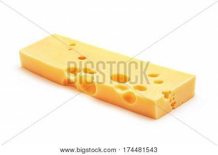 fresh emmentaler cheese block isolated on white