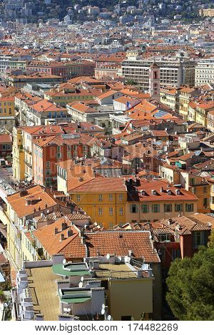 Beautiful top view of Nice, French Riviera