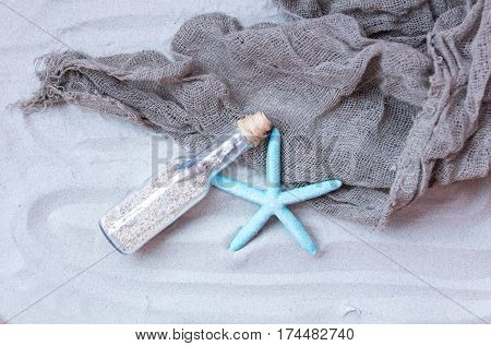 Beautiful Souvenir, Starfish And Cool Fishnet Lying On The Wonderful Beach Sand Background
