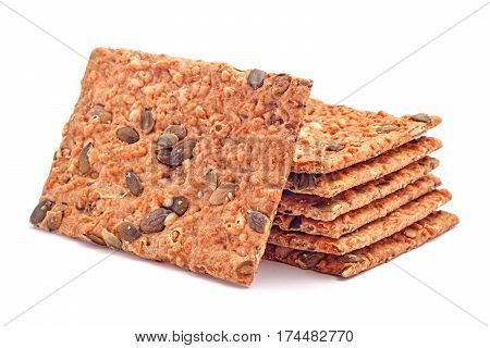 low calories hard bread snack isolated on white