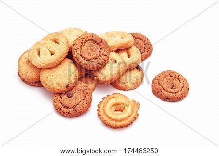 sweet biscuits cookies variation isolated on white